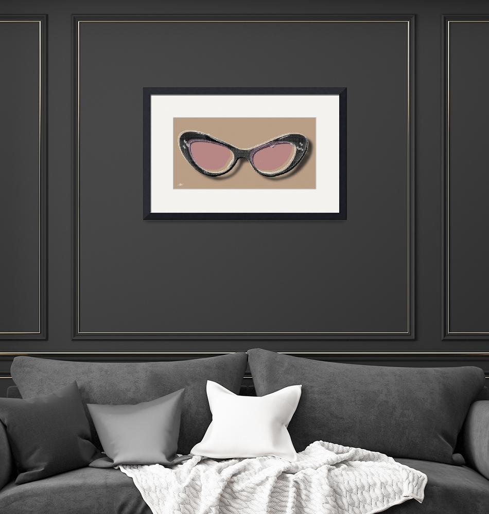 """Retro Glasses Funky Pop Pink Rose Brown""  by RubinoFineArt"