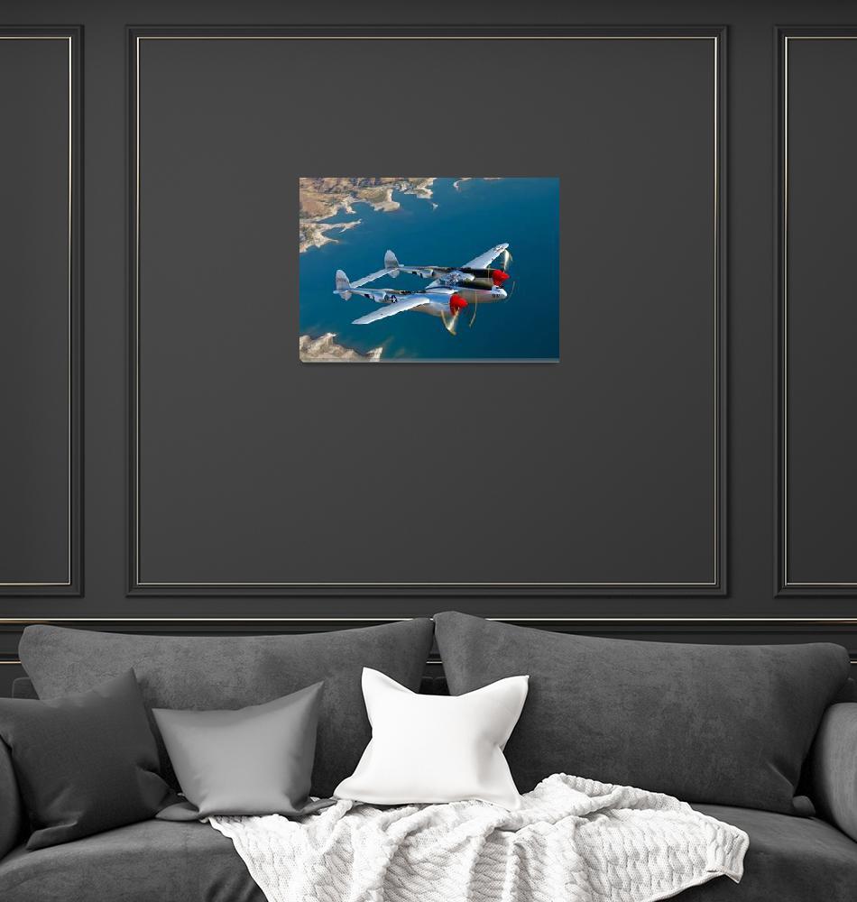 """A Lockheed P 38 Lightning fighter aircraft in flig""  by stocktrekimages"