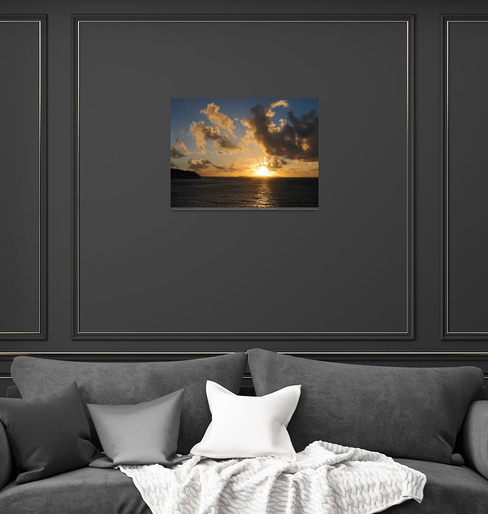"""""""Sunrise With Clouds St. Martin""""  by susansartgallery"""