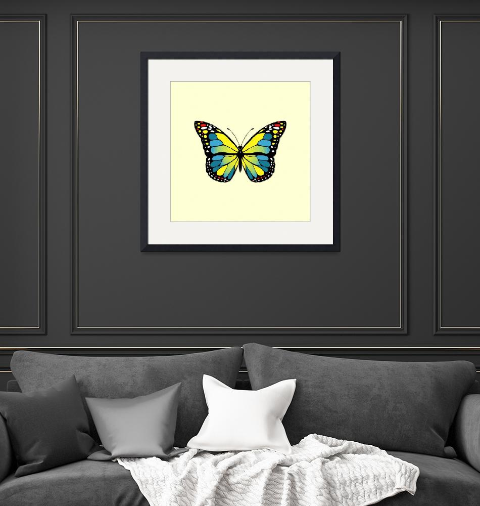 """""""Blue and yellow butterfly"""" (2020) by gavila"""