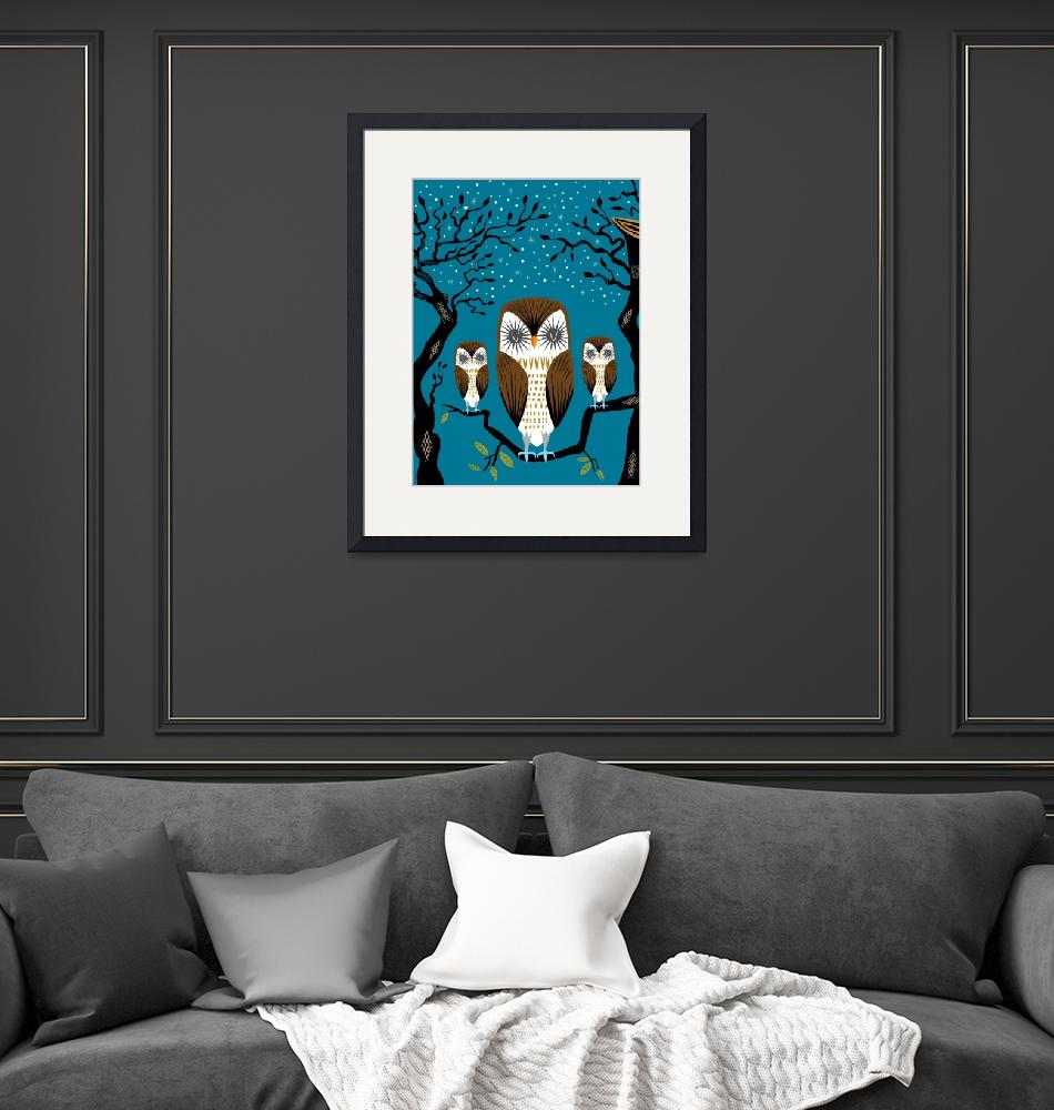 """""""Three Lazy Owls - Limited Edition Print""""  (2010) by iotaillustration"""