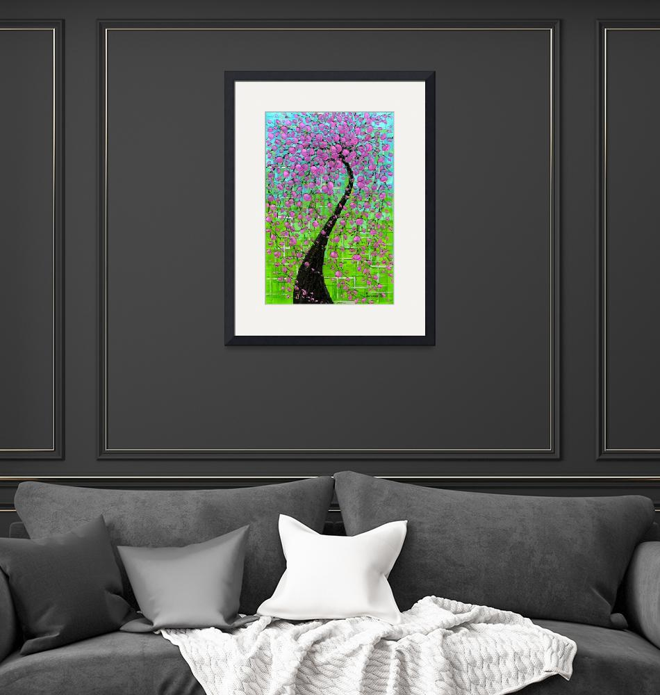 """""""Pink Cherry Blossom Tree""""  (2009) by modernhouseart"""