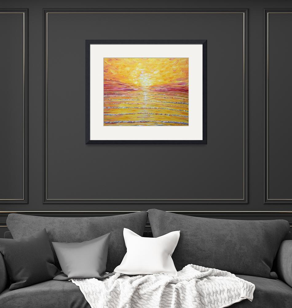 """Sunset Ocean Painting""  by PeteCaswell"