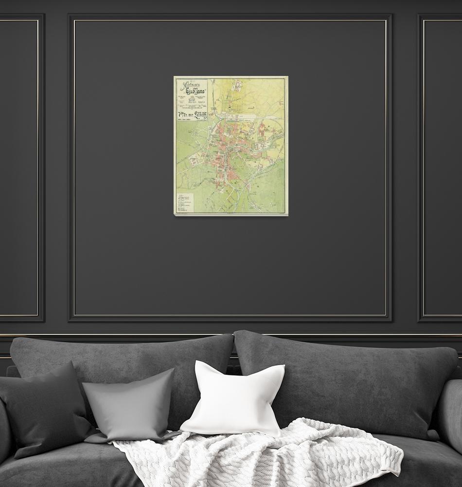 """Vintage Ljubljana Slovenia Map (1902)""  by Alleycatshirts"