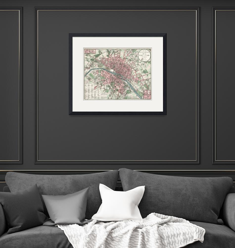 """""""Vintage Map of Paris France (1821)""""  by Alleycatshirts"""