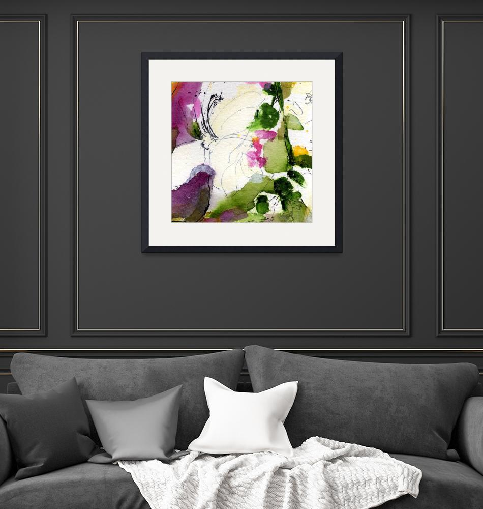"""""""Abstract Blossom Square Format WC by Ginette""""  (2011) by GinetteCallaway"""