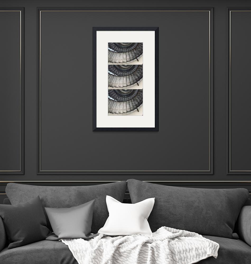 """""""Three images of a black spiral staircase""""  (2018) by NormaStampSunnyDaze"""
