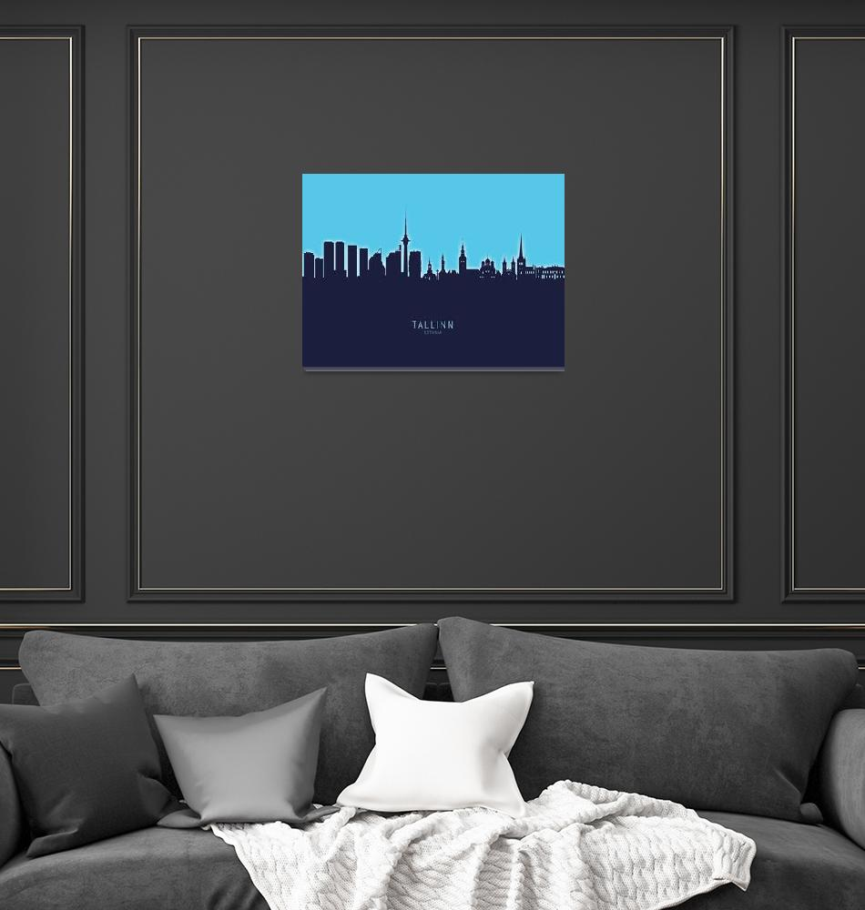 """Tallinn Estonia Skyline""  (2020) by ModernArtPrints"