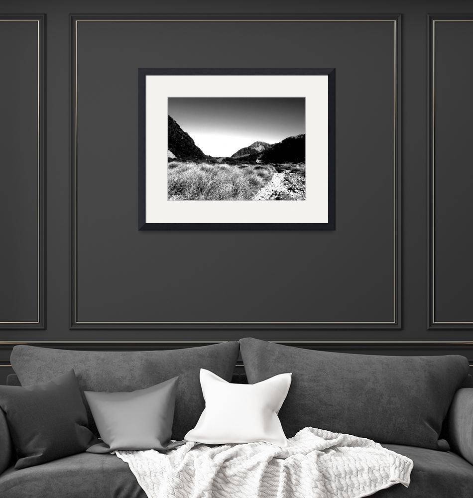 """""""moor grass and mountains b&w""""  (2009) by rottlig"""