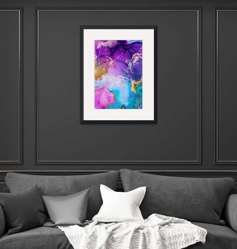 """""""Purple, Blue And Gold Metallic Abstract Watercolor""""  by fineartgallery"""