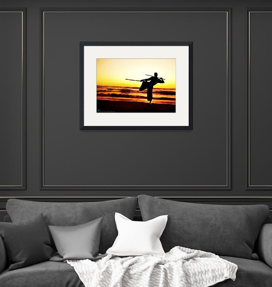 """""""Martial Arts Man Silhouette in Sunset w Dual Sword"""" (2015) by NovazziPhotoArt"""