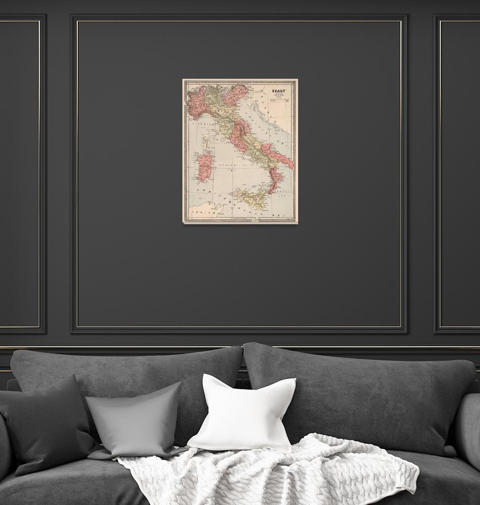 """""""Vintage Map of Italy (1883)""""  by Alleycatshirts"""