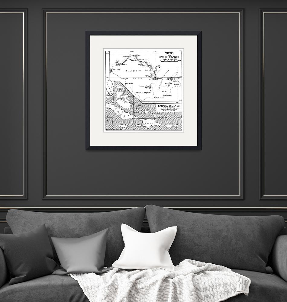 """""""Vintage Map of Turks and Caicos & Bahamas""""  by Alleycatshirts"""