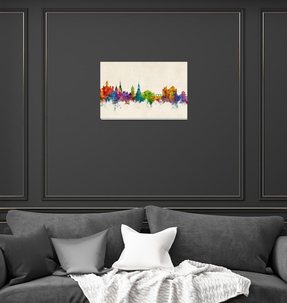 """""""Schaffhausen Switzerland Skyline""""  (2017) by ModernArtPrints"""
