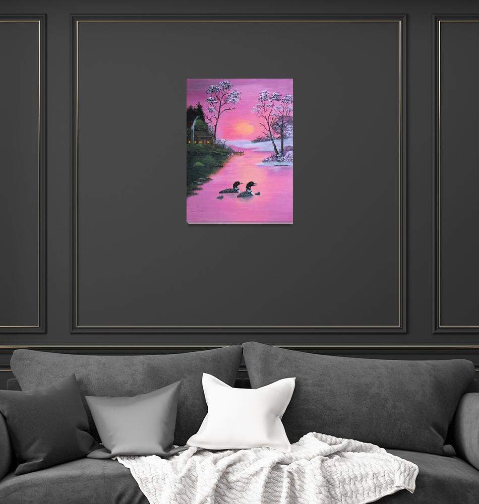 """""""loons in pink sunset""""  (2007) by lesliecollins57"""