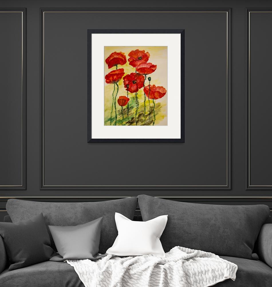 """Watercolor painting of poppies""  by CatalinaPanait"