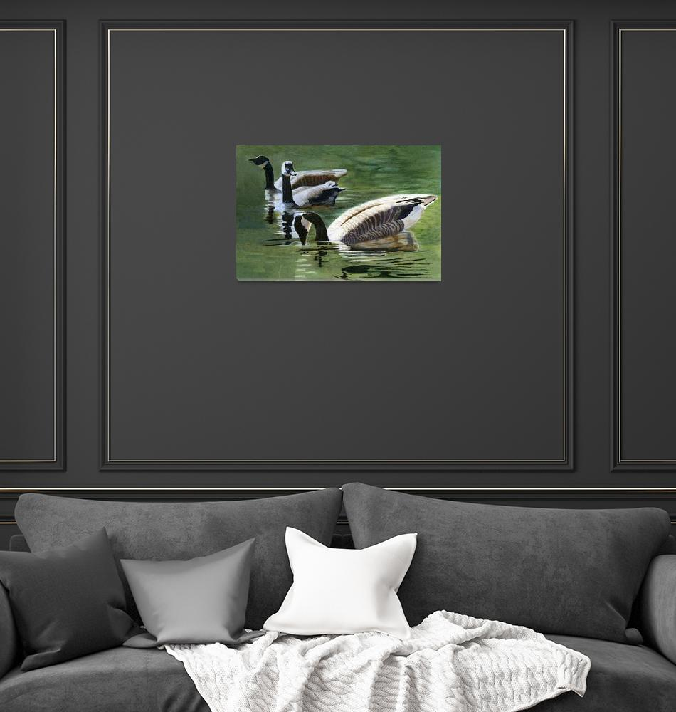 """""""Three Canada Geese""""  (2010) by Pacific-NW-Watercolors"""