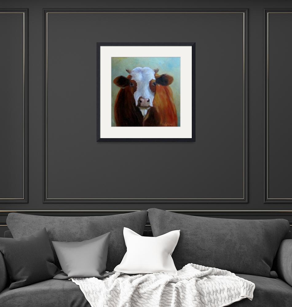 """""""Daffodil Cow Painting""""  (2012) by CheriWollenbergArt"""