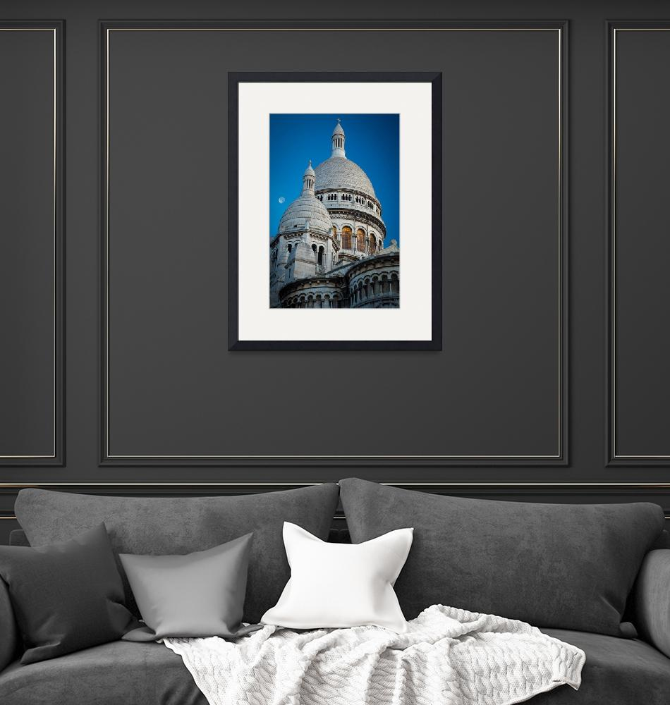 """""""Sacre-Coeur and Moon""""  (2012) by Inge-Johnsson"""