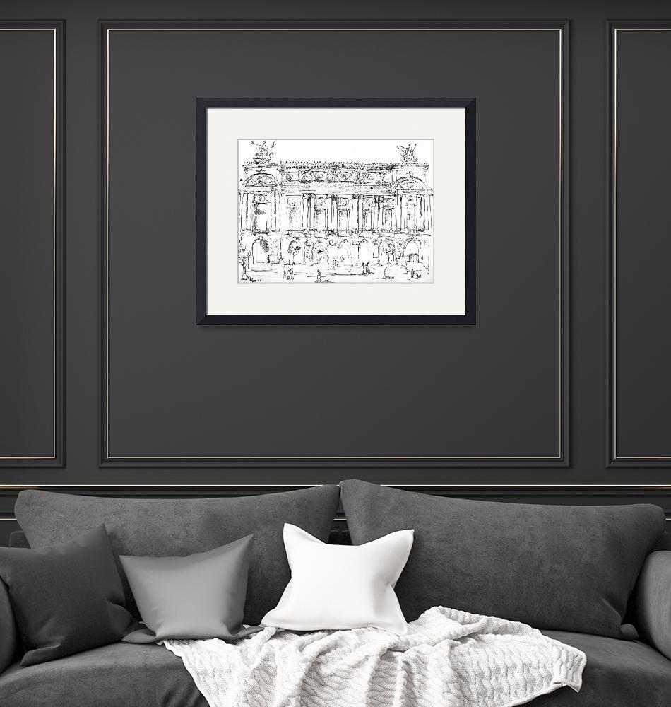 """Opera Garnier Paris Ink Drawing by Ginette""  (2008) by GinetteCallaway"