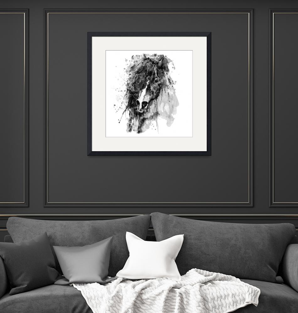 """""""Abstract Horse Head Black and White""""  (2021) by MarianVoicu"""
