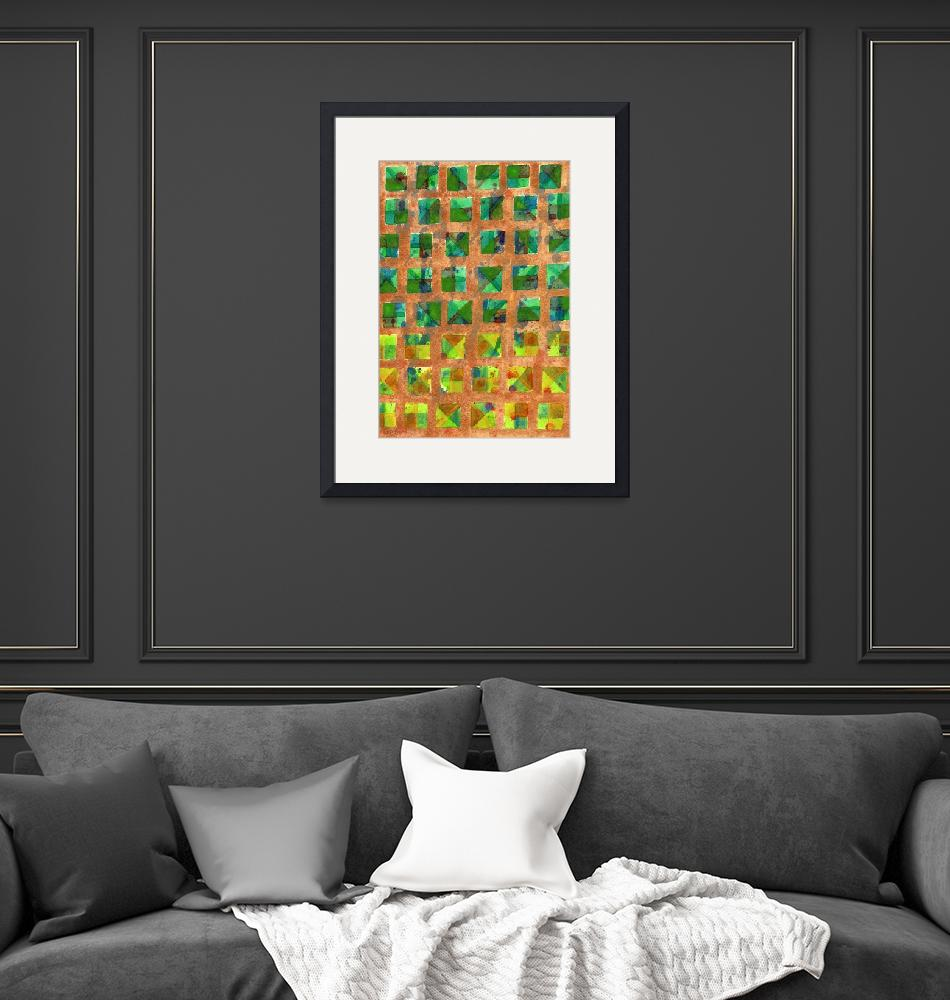 """""""Green Squares on Golden Background Pattern""""  (2017) by HeidiCapitaine"""