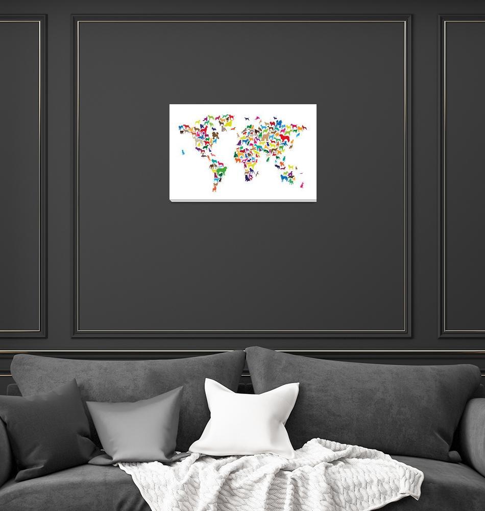 """Dogs Map of the World Map""  (2014) by ModernArtPrints"