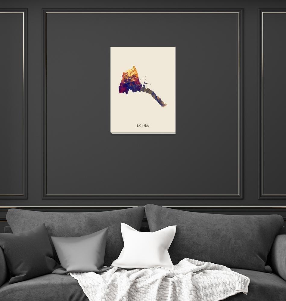 """Eritrea Watercolor Map""  (2019) by ModernArtPrints"