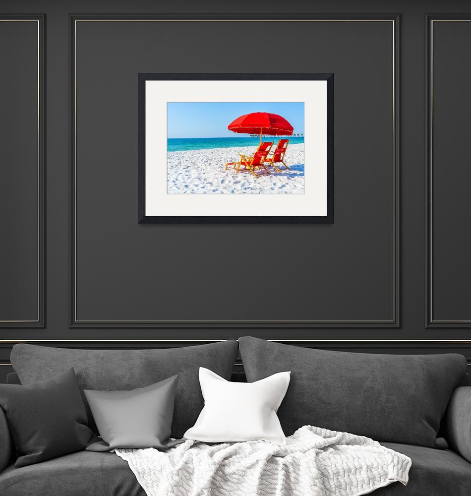 """Red Umbrellas at Beach""  (2019) by beecreekphotography"