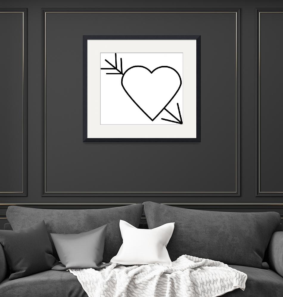 """""""Black Heart Outline with Arrow Through It""""  (2015) by ValeriesGallery"""