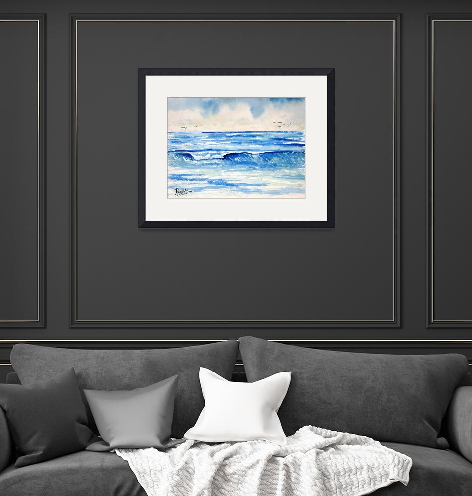 """blue waves painting art print""  (2013) by derekmccrea"