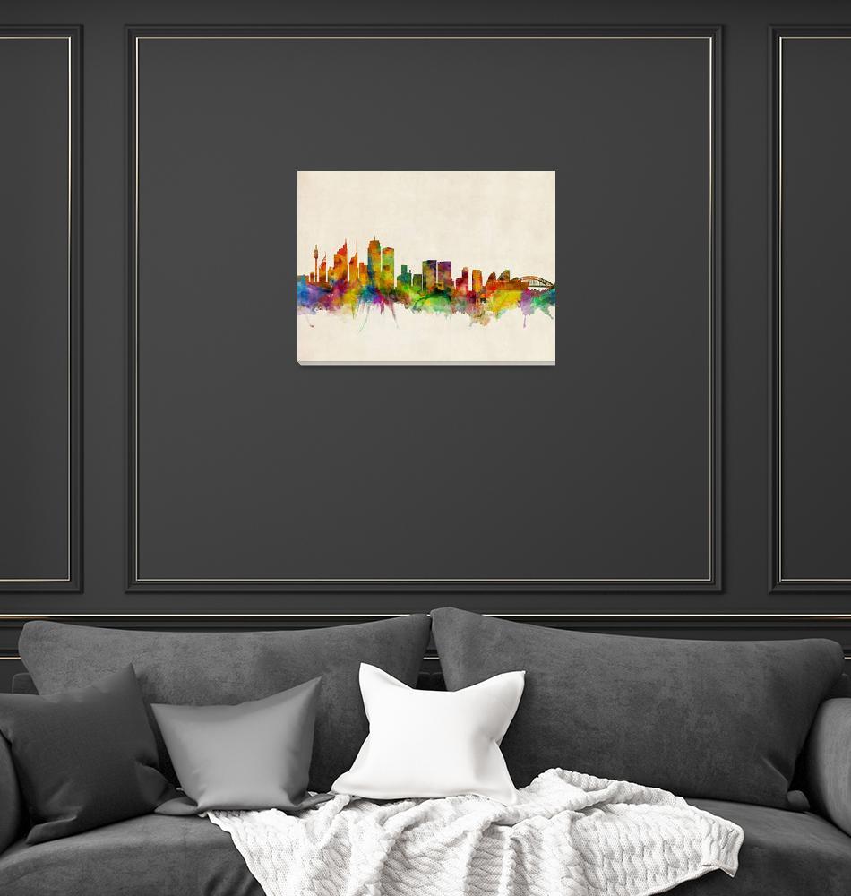 """""""Sydney Skyline""""  (2013) by ModernArtPrints"""