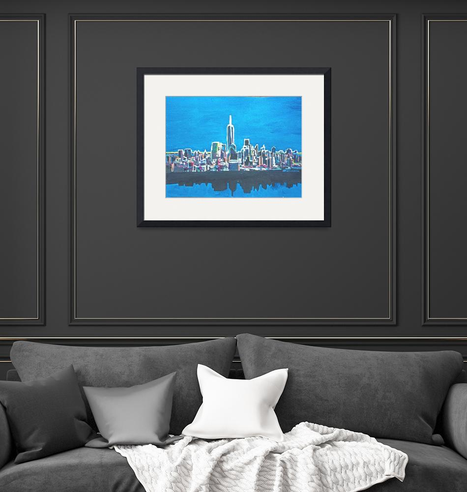 """Neon Skyline of New York City Manhattan with One W""  (2014) by arthop77"