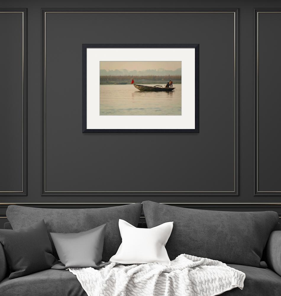 """""""Fishing Boat with Red Flag""""  (2010) by Serena"""