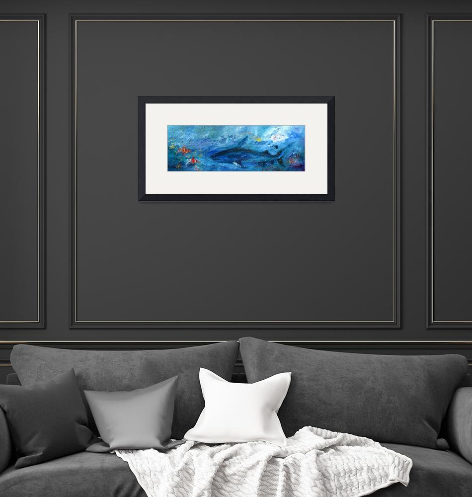 """""""Abstract Marine Life Shark and Corel Reef Fish""""  (2012) by GinetteCallaway"""
