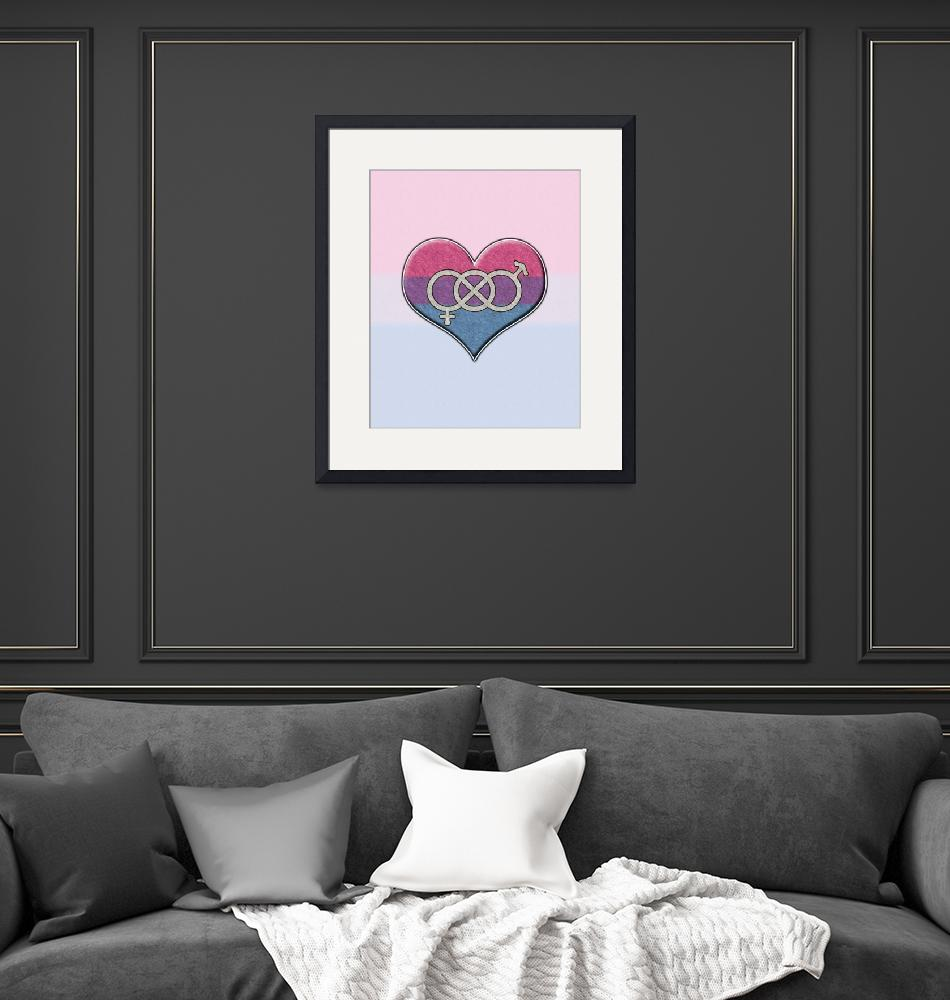"""""""Bisexual Pride Heart with Gender Knot""""  by LiveLoudGraphics"""