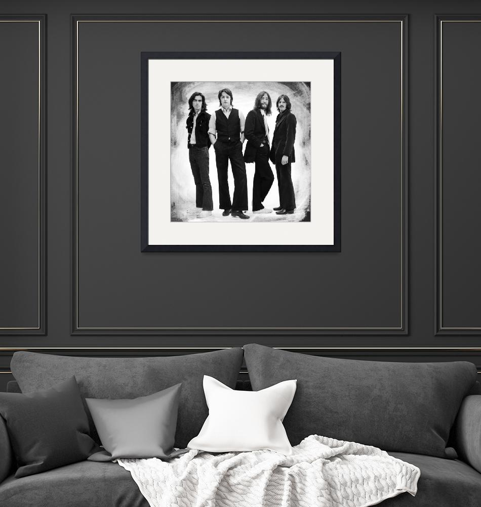 """""""The Beatles Painting Late 1960s Early 1970s Black""""  by RubinoFineArt"""