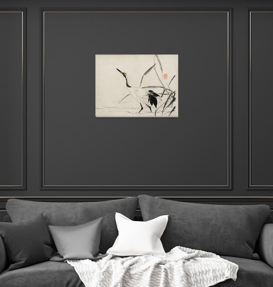 """Japanese Crane by Mochizuki Gyokusen""  by FineArtClassics"
