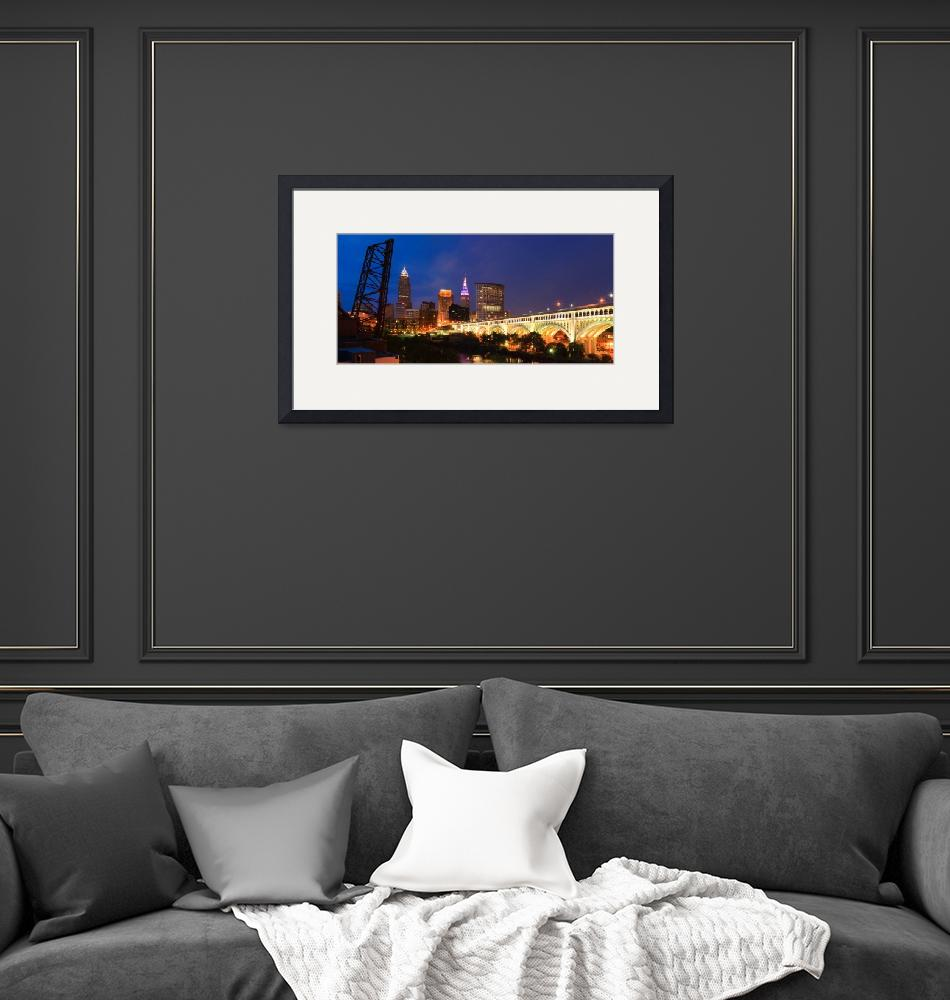 """""""Cleveland Skyline from the Flats at Sunset Panoram"""" by cyorkphoto"""