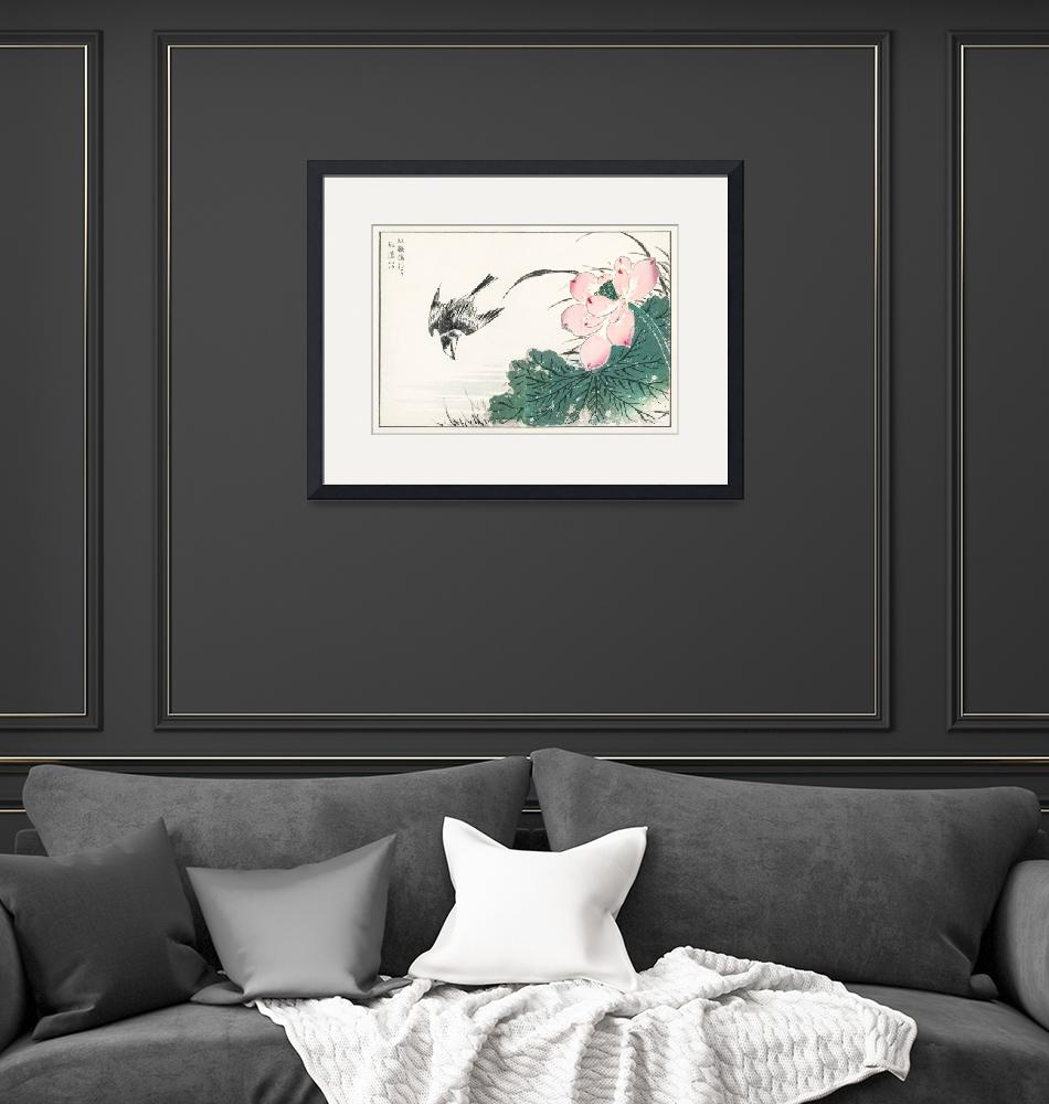 """""""Japanese Pied Wagtail and Red Lotus by Numata Kash""""  by FineArtClassics"""