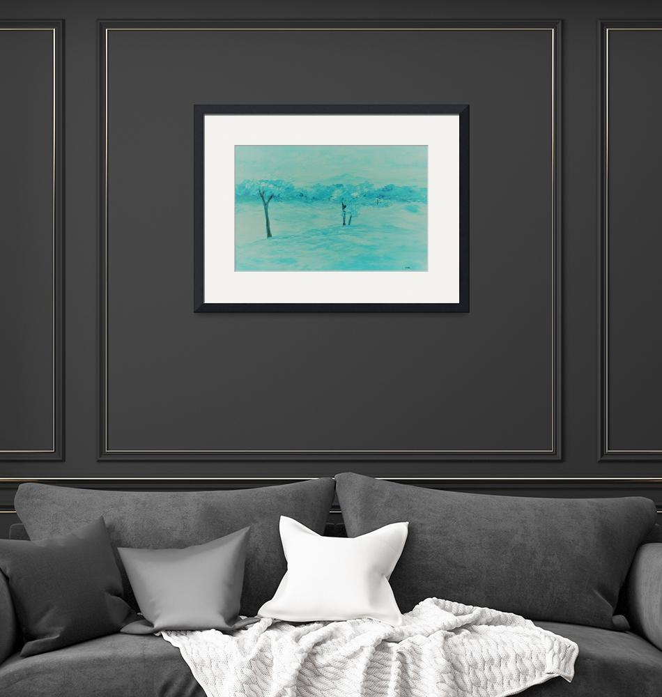 """""""Abstract Teal Landscape""""  by EloiseArt"""
