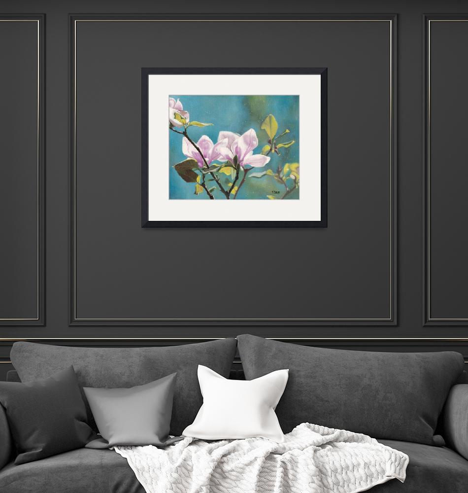 """""""Original oil painting Magnolia""""  (2018) by yuezeng"""