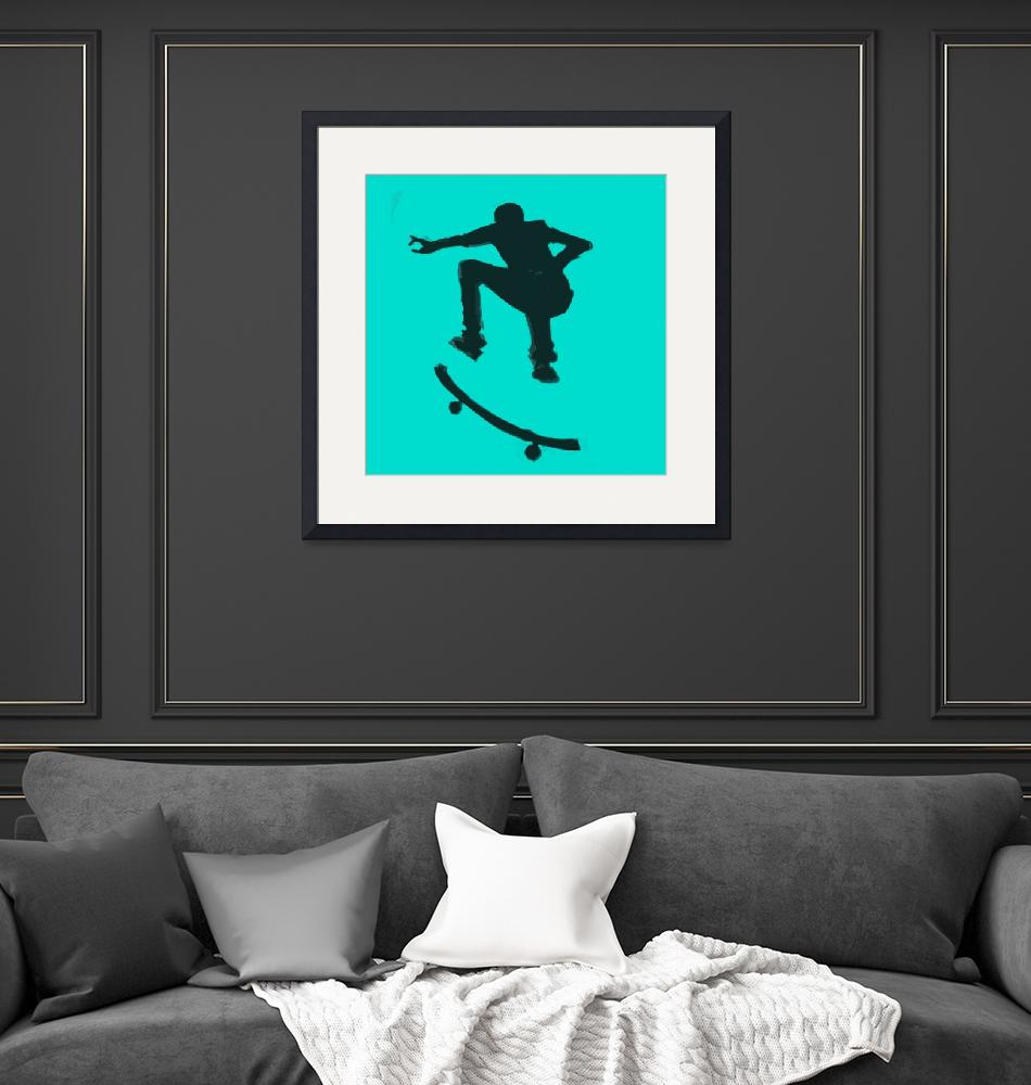 """""""Skateboarder 2 . gray grey charcoal (c)""""  (2014) by edmarion"""
