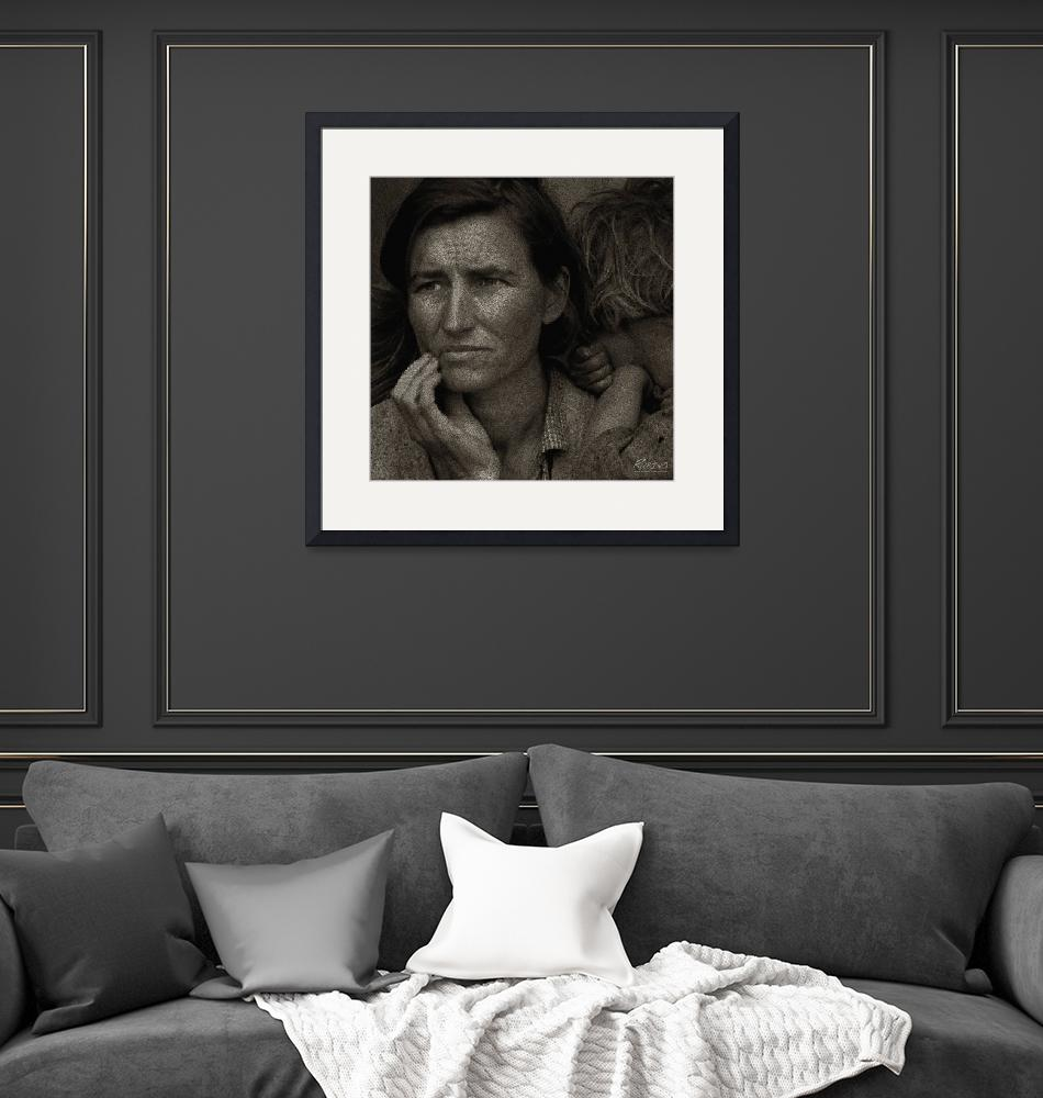 """""""Woman and Child Drawing From Dorothea Lange Photo"""" (2013) by RubinoFineArt"""