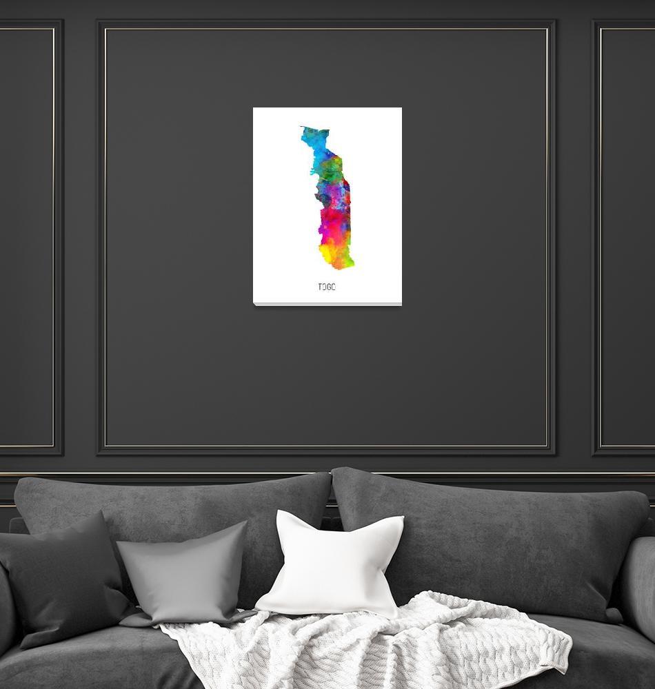 """Togo Watercolor Map""  (2019) by ModernArtPrints"