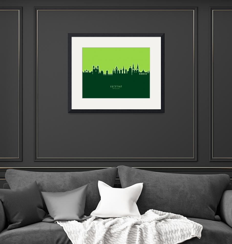 """Lucerne Switzerland Luzern Skyline""  (2020) by ModernArtPrints"