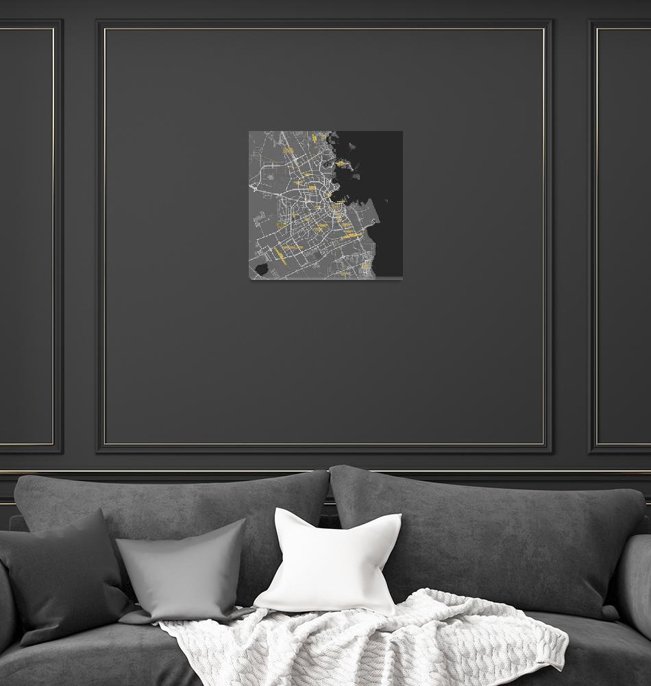 """Minimalist Modern Map of Doha, Qatar 6""  by motionage"