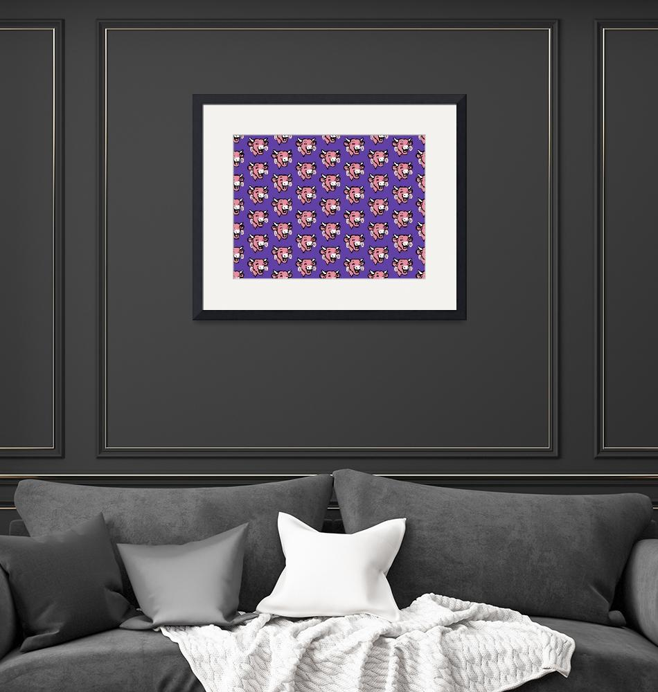 """""""The Laughing Cow Pop 4 - Pink on Purple Wallpaper""""  (2015) by peterpotamus"""