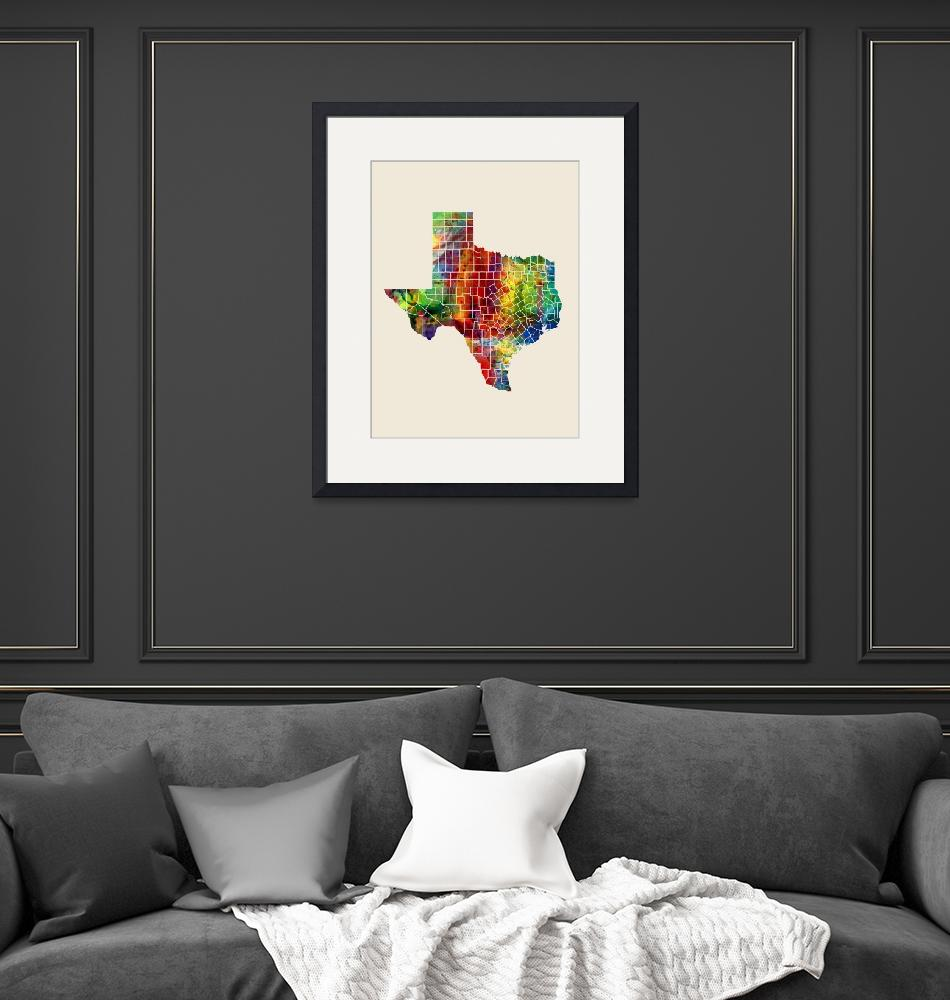 """Texas Watercolor Map""  (2016) by ModernArtPrints"