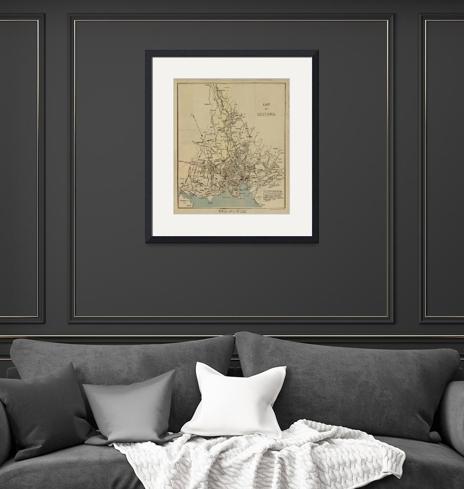 """""""Vintage Map of Oslo Norway (1881)""""  by Alleycatshirts"""